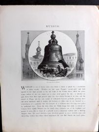 Picturesque Europe C1875 Antique Print. The Great Bell at Moscow, Russia